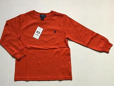Nwt Polo Ralph Lauren Boy's Toddler 4/4T Long Sleeve T.shirts Orange