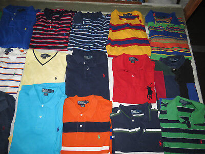 Lot Of 27 Polo Ralph Lauren Shirts Pullover Mens Sizes Short Sleeve Knit Cotton