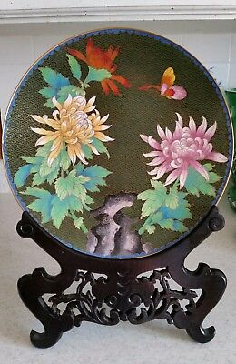 """Vintage Chinese cloisonne 10"""" plate with stand"""