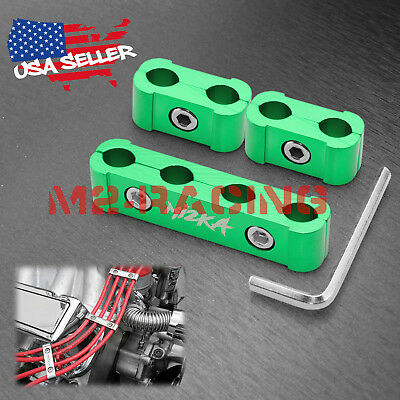3Pcs Green Aluminum Engine Spark Plug Wire Separator Divider Organizer Clamp Kit