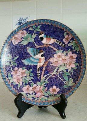 """Vintage Chinese cloisonne 7"""" plate with stand"""