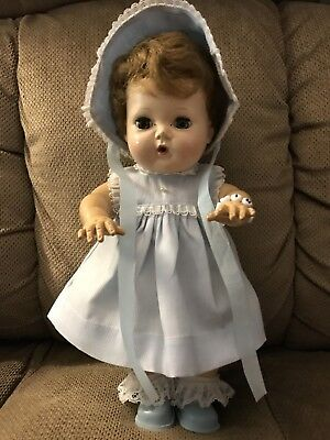 """Tiny Tears--11"""" Rubber Body--Vintage Outfit--Saran Hair--Open/Close Eyes-Reduced"""