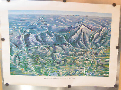 Vintage White Mountains Recreation Assn' Of N.h. Map/poster ~L. Brusseau