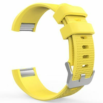 Replacement Wristband Strap Band for Fitbit Charge 2 Buckle Yellow Large