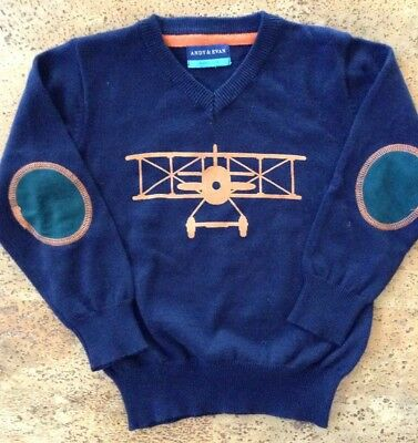 Boys Size 4T Dark Blue Light Sweater Andy & Evan Airplane & Elbow Patches NEW