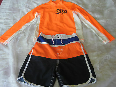 OSHKOSH Boys Orange/White Top & Multicolor Shorts Size Top 8/Shorts 7