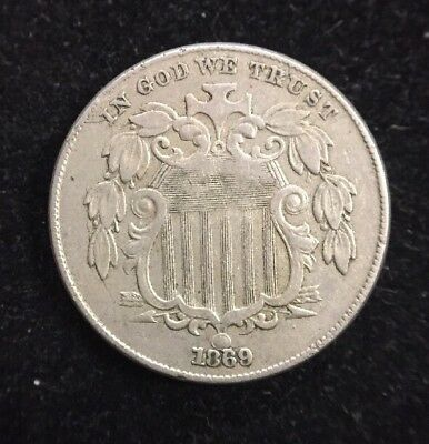 1869 5 Cent Shield Nickel Early U.S. Collectible Coin