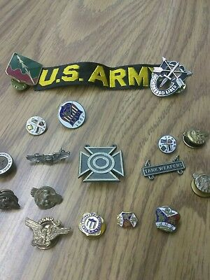 Vintage Military  Pin Badge Lot of 17 with  Sterling Silver WW2