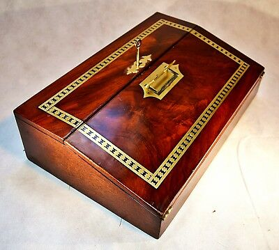 Victorian Brass Inlaid Flamed Mahogany Veneered Writing Slope