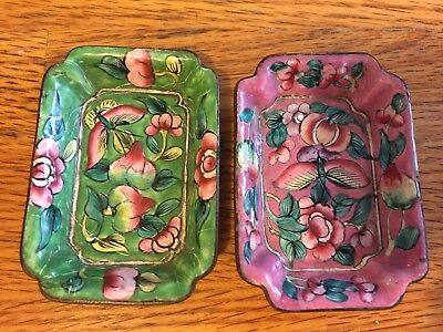 Pair Of Vintage Enamel Floral Butterfly Trays