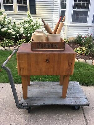 PRIMITIVE ANTIQUE Heavy Antique Farmhouse  Wood Butcher Block Table Michigan