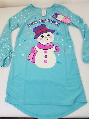 Komar Kids Girl's Long Sleeve Fleece Christmas Nightgown Dress, Turquoise, M 7/8