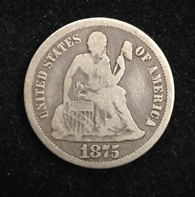 1875-CC Below Bow 10 Cent Seated Liberty Dime Carson City Collectible Coin