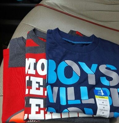 3 boys okie dokie shirts 4t, all have cute sayings, little boys
