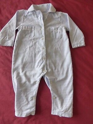 Little White Company 18-24 Months Blue/White Check Pyjama/Sleepsuit 100% Cotton