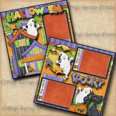 2 Premade Scrapbook Pages Halloween EZ Layout 4386 Haunted House