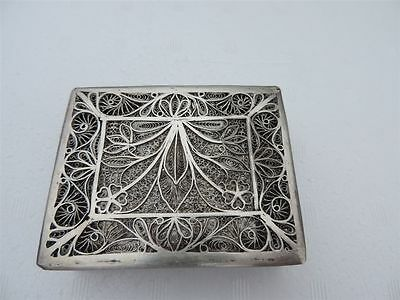 Finest Vintage Antique Russian Chinese Persian ? Solid Silver Filigree Snuff Box