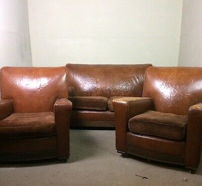 Antique 3 Piece Suite Sofa And 2 Armchairs