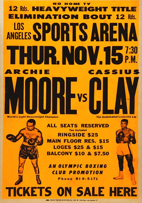 Cassius Clay Muhammad Ali Job Lot X 5 Early Boxing Posters Laminated 11 X 8 Inch