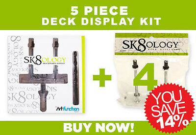 SK8OLOGY SKATEBOARD DECK DISPLAY 5 Pc Kit Floating wall Mount