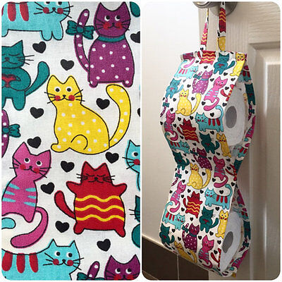 Double Toilet Roll Holder/ Toilet Paper Holder/ Bathroom Storage Colourful Cats