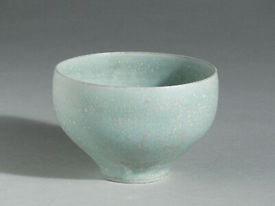 Tea bowl with green crystal-spotted glaze, made by Laura Andreson in 1971