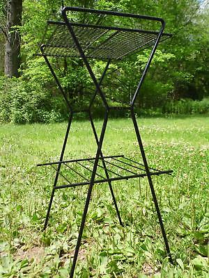 Mid Century Modern Black Iron Mesh Magazine Newspaper Rack Table Plant Stand 50s