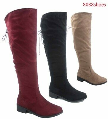 Women's Round Toe Low Heel Zipper Over The Knee Riding Boots Shoes Size 5.5 - 10