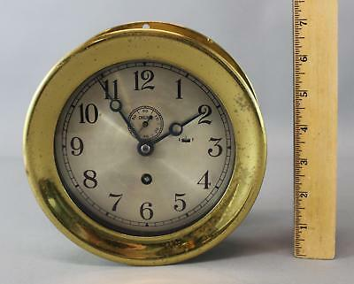 Vintage Authentic Brass Chelsea Ships Clock, Working Condition w/ Key, NR