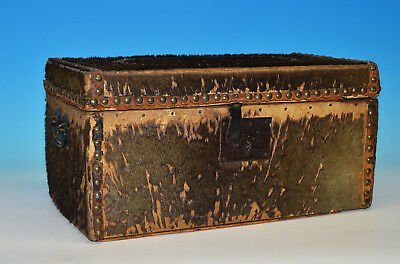 Original Early American Portsmouth Va 1820s Fur Covered Coach Trunk Box 19th Cen