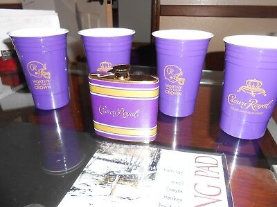 Crown Royal Flask with a Set of 4 Cups
