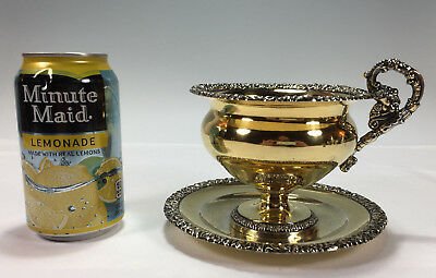 HUGE French Gilt .950 Sterling Silver Cup & Saucer LOUIS MANANT 1829-1865   340g