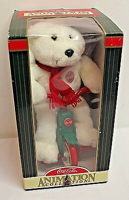 Coca Cola Collectible Animated Coke Plush Bear on Tricycle Christmas 1998 NEW