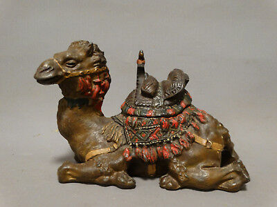 Antique ART DECO ENAMEL Painted CAST IRON Bedouin CAMEL STATUE Figural INKWELL
