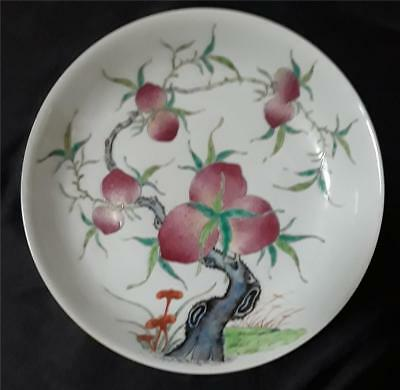 Antique Chinese Peaches & Bats Porcelain Plate With Guangxu Mark
