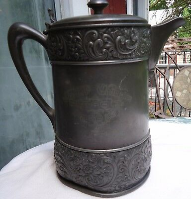 Antique Rogers Smith & Co Silverpalte Water Pitcher Tanker 1891 Detroit USA.