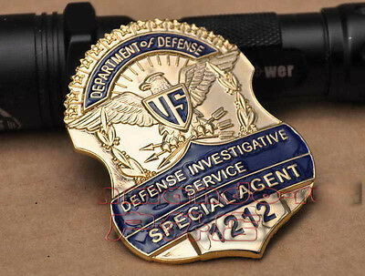 Obsolete US SPECIAL AGENT 1212 Gold Metal Badge Shoulder Cosplay Prop Collection