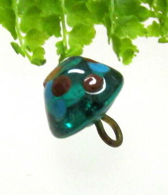 Fabulous Antique Teal Glass Charmstring Button W/ Blue & Red Polka Dots P27