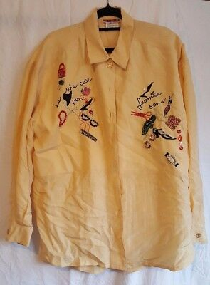 100% silk vintage adele palmer gold yellow cream blouse embellished bling L