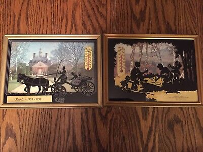 Vintage advertising silhouette picture thermometer Lot Of 2. Curly's Dairy