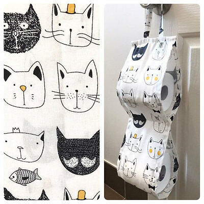 Double Toilet Roll Holder/ Toilet Paper Holder/ Bathroom Storage Cute Cats White