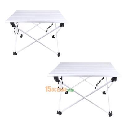 Portable Folding Aluminum Rolling Table with Bag for Camping Picnic #ORP
