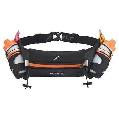 FITLETIC Ceinture hydratation - gourdes 2x250ml - Noir / Orange
