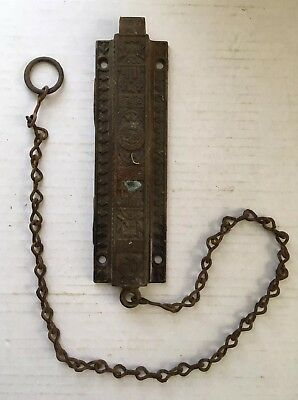 Antique Vtg Victorian Eastlake Top Latch Dead Bolt Pull Spring Lock Cast Iron