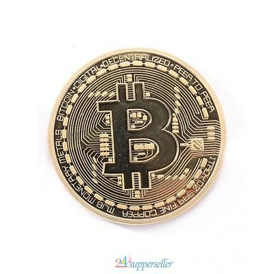 1pcs Gold Plated Bitcoin Coin Collectible Physical BTC Coin Art Collection Gift