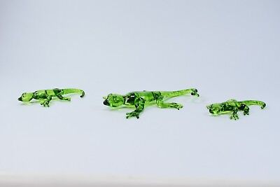 Set of 3 Lizards Figurine of Blown Glass Crystal