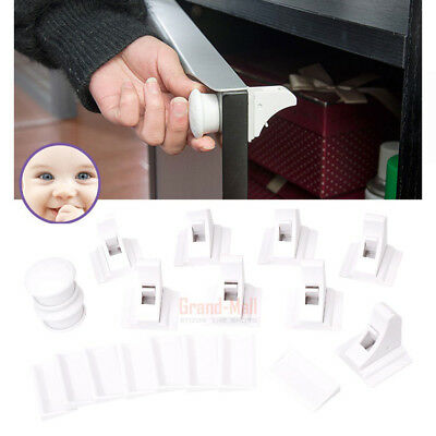 10PCS Baby Child Cupboard Safety Locks Childproof Magnetic Cabinet Drawer Locks