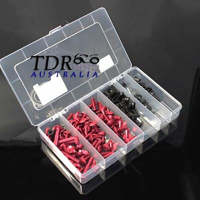Aluminum Motorcycle Windscreen Fairing Bolts Kit Fastener Clips Screws - Red
