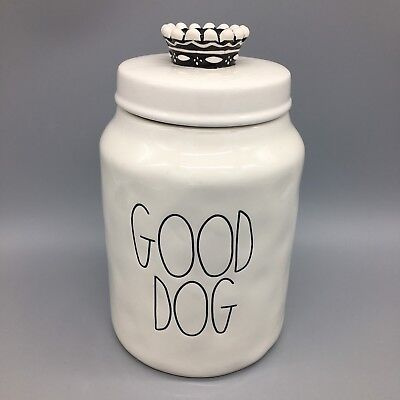 Rae Dunn GOOD DOG Treat Canister Food Container Jar Puppy Crown Large Artisan 9""