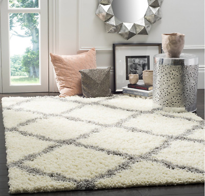 Safavieh Dallas SHAG Collection SGD257F Ivory and Grey Area Rug, 4 feet by 6 ft